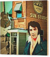 Elvis Presley The King At Sun Studio Memphis Tennessee 20160216 Square Wood Print