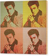 Elvis Retro Pop Art Wood Print