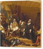 Embarkation Of The Pilgrims Wood Print