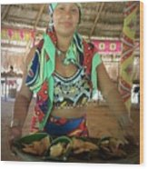 Embera Indian Lady Serving A Meal Wood Print