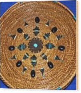 Embroidered Gem Stone Plate Wood Print