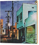 Emerald Alley Wood Print