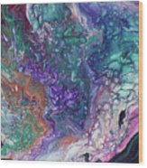 Emerald And Amethyst. Abstract Fluid Acrylic Painting Wood Print
