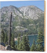Emerald Bay With Mountain Wood Print
