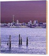 Emerald City Skyline Wood Print