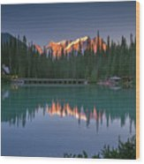 Emerald Lake At Sunrise Hour Wood Print