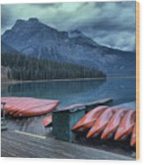Emerald Lake Canoes Wood Print