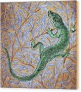 Emerald Lizard Wood Print