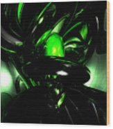 Emerald Nigthmares Abstract Wood Print