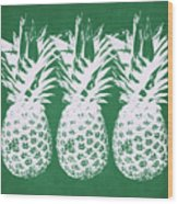 Emerald Pineapples- Art By Linda Woods Wood Print