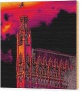 Emily Morgan Hotel With Fiery Sky Wood Print