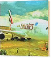 Emirates A380 Airbus Pop Art Wood Print