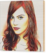 Emma Stone Portrait Colored Pencil Wood Print