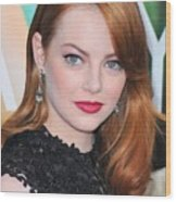 Emma Stone Wearing Fred Leighton Wood Print by Everett