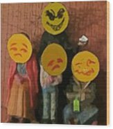 Emoji Family Victims Of Substance Abuse Wood Print