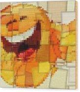Emoticon Mosaic Cubism Wood Print