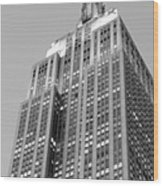 Empire State Building B W Wood Print