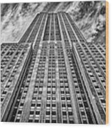 Empire State Building Black And White Wood Print