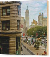 Empire State Building - Crackled View Wood Print