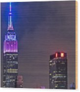 Empire State Building Esb At Night Wood Print