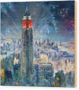 Empire State Building In 4th Of July Wood Print