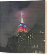 Empire State Building In The Fog Wood Print