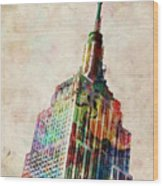 Empire State Building Wood Print by Michael Tompsett