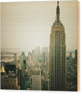Empire State Building New York Cityscape Wood Print