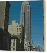 Empire State Building Seen From Street Wood Print
