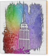 Empire State Of Mind Cool Rainbow 3 Dimensional Wood Print