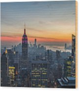 Empire State Sunset Wood Print