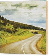 Empty Asphalt Road In Countryside Wood Print