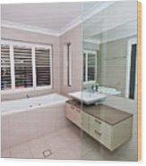 Empty Bathroom Wood Print