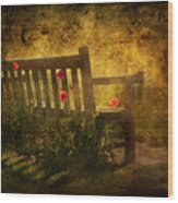 Empty Bench And Poppies Wood Print