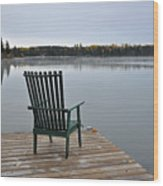 Empty Chair On Autumn Morning Wood Print