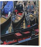 Empty Gondolas Floating On Narrow Canal In Venice Wood Print