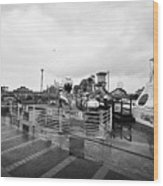 Empty Outdoor Amusement Park On A Cold Wet British Summer Day North Wales Uk Wood Print