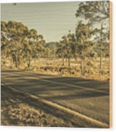 Empty Regional Australia Road Wood Print