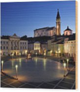 Empty Tartini Square In Piran Slovenia With Courthouse, City Hal Wood Print