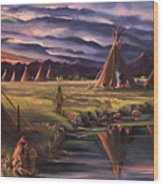 Encampment At Dusk Wood Print