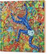 Encaustic  Man  Jumping Wood Print