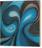 Enchanted Blue Waves Wood Print
