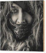 Enchanted Concept Black And White Wood Print