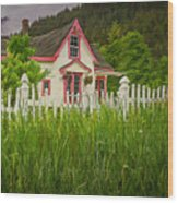 Enchanted Cottage With Picket Fence Wood Print