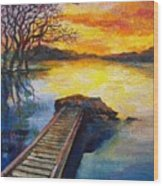 End Of The Dock Wood Print