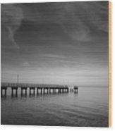 End Of The Pier Landscape Photograph Wood Print