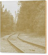 End Of The Rail-sepia Wood Print