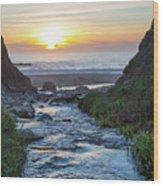 End Of The Road - Creek Runs Into Pacific Ocean At Big Sur Wood Print