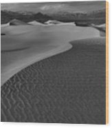 Endless Dunes Black And White Wood Print