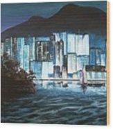 Energetic Blue Wood Print